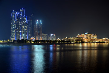 Skyline of Abu Dhabi at night, UAE