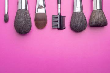Make up brushes flat lay
