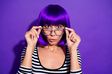 Photo of beautiful lady listen terrible news wear specs skirt wig striped pullover isolated purple background