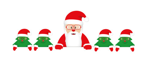 cute happy santa claus with little christmas trees with glasses vector illustration EPS10