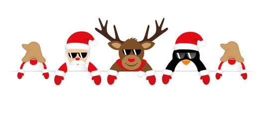 cute santa reindeer penguin and gnomes with sunglasses christmas banner vector illustration EPS10