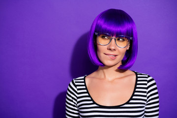 Photo of amazing lady curious about new gossip wear bright wig striped pullover isolated purple background