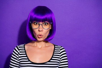 Photo of pretty lady listen unexpected bad news wear specs bright wig striped pullover isolated purple background