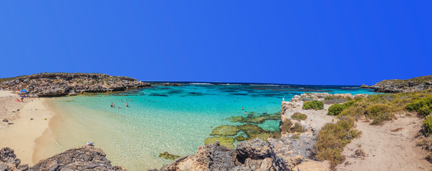 Panoramic picture of a beach on Rottnest Island at daytime in summer 2015