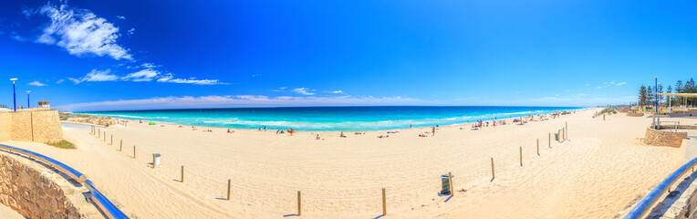 Panoramic picture of Scarborough Beach in Perth during daytime in summer 2015