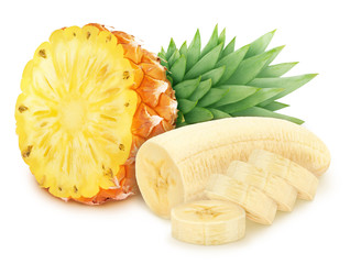 Composite image with cutted fruits: banana and pineapple isolated on a white background.