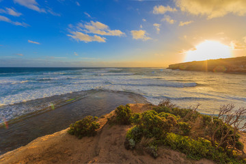 Picture of sunrise at the cliffy coast of Great Ocean Road in Southern Australia in summer 2015