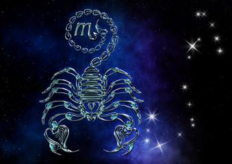 Sernzeichen Skorpion Scorpio Tierkreiszeichen Sternbild edel elegant silber im leuchtenden Sternenhimmel