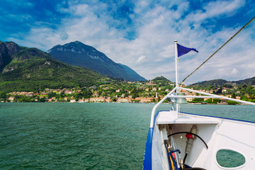 Menaggio town seen from ferry on the Lake Como, Lombardy region, Italy