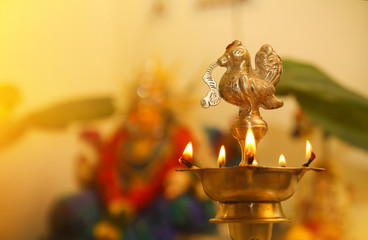 Fototapete - Indian Traditional Silver Oil Lamp in Varalakshmi vratam festival