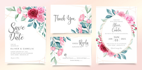 Modern floral wedding invitation card template set with elegant watercolor flowers and leaves. Red and peach botanical illustration background set