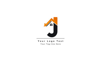 """home logo design, the letter """"J"""" is designed to be a symbol or Icon of the house vector, Real estate"""