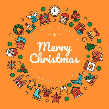 Merry christmas colorful social media banner template