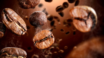 La pose en embrasure Macro photographie Brown coffee grains and free space for your decoration.