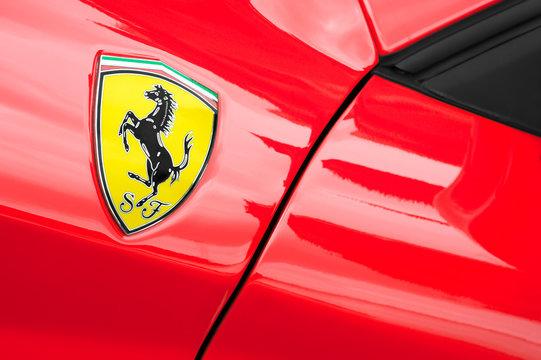 Ferrari sports car badge closeup on a vehicle in Winnersh, UK on May 18, 2013