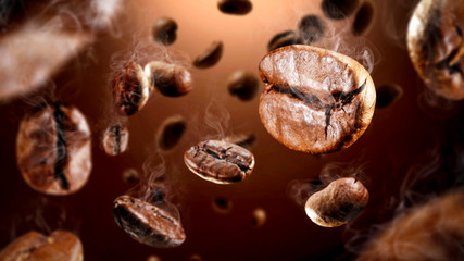 Poster de jardin Salle de cafe Brown coffee grains and free space for your decoration.