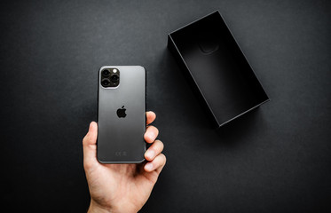 NOVA BANA, SLOVAKIA - SEPT 25, 2019: New Apple iPhone 11 Pro smartphone.