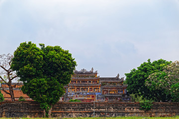 View from backyard on the colorful building in Purple Forbidden city (Imperial Citadel) in Hue, Vietnam