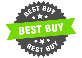 best buy sign. best buy green-black circular band label