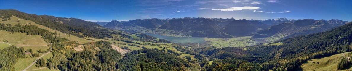Panorama Sarnersee in Obwalden, Schweiz