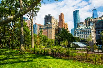 Battery Park and Manhattan buildings in New York City