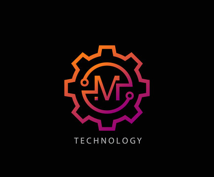 Letter M Gear technology vector logo template. This logo is suitable for factory, industrial, technology, website, digital, mechanic, wheel.