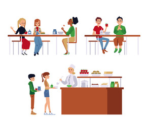 Set of situations in a school cafeteria, dining room or canteen.