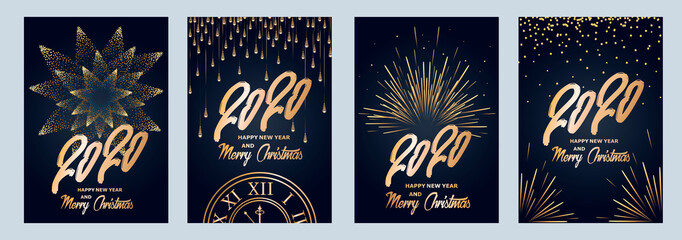 2020 new year. Fireworks, golden garlands, sparkling particles. Set of Christmas sparkling templates for holiday banners, flyers, cards, invitations, covers, posters. Vector illustration. Fotomurales