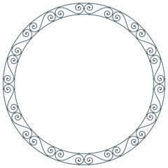 Vector baroque circle frame swirl line. Isolated on white background.