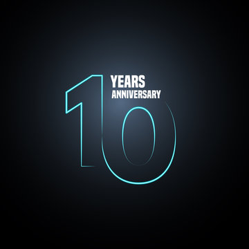 10 years anniversary vector logo, icon. Graphic design element with neon number