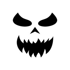 Pumpkin face silhouette icon for Halloween isolated on white background. Scary pumpkin devil smile, spooky jack o lanter. Vector illustration for any design.
