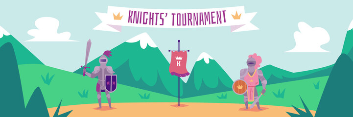 Knight tournament - flat cartoon banner with two fighters in metal armor Wall mural