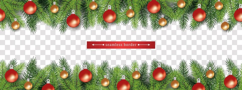 Chistmas tree branches holiday seamless border set for bottom and top side