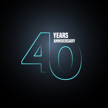 40 years anniversary vector logo, icon. Graphic design element with neon number