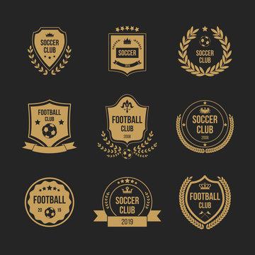 Football club badge set - royal shield shape with crown symbol and soccer ball