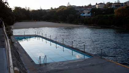 Clovelly beach and rock pool early in the morning Sydney