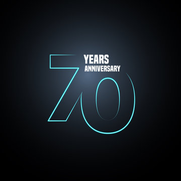 70 years anniversary vector logo, icon. Graphic design element with neon number