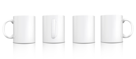 Classic white mug mockup set from different angles