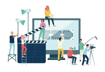 Movie production crew banner - cartoon people with giant cinema equipment