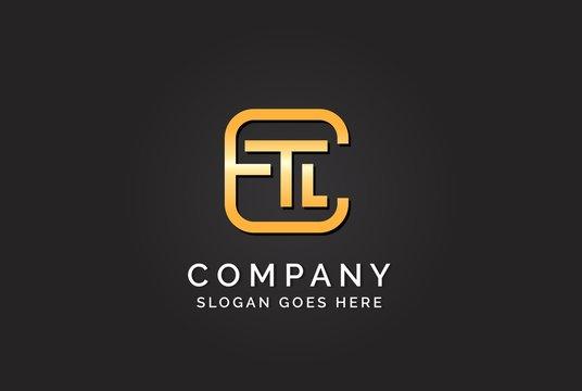 Luxury initial letter ETL golden gold color logo design