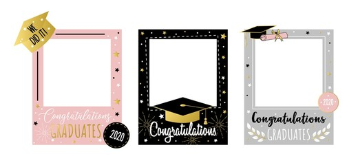 Happy congratulating graduates photo booth set vector illustration. Colorful 2020 frame set with joyful phrase we did it with golden font inscription. End of school concept