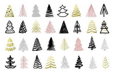 Christmas tree colorful hand drawn set on white vector illustration. Winter holidays postcard decorated by colorful sketch of wood. Card with traditional Xmas fir-tree