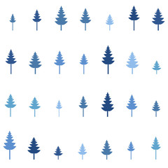 Seamless vector illustration. Minimalistic concept. Flat style pine trees. Pine forest. Abstract minimalism. Wavy pattern. Elements for design. Environmental protection. Winter blue trees background