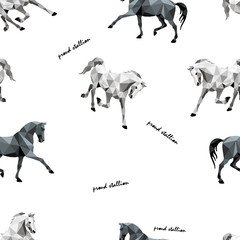 """seamless background of monochrome polygonal isolated images of horses on a white background in the style of """" low poly"""""""