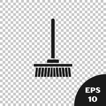 Black Mop icon isolated on transparent background. Cleaning service concept. Vector Illustration