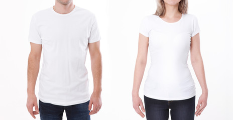 T-shirt design fashion concept, closeup of woman and man in blank white t-shirt, shirt front isolated. Mock up.