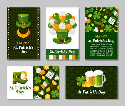 St. Patricks Day greeting card flat vector templates