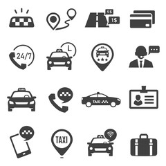 Taxi service black glyph vector icons set