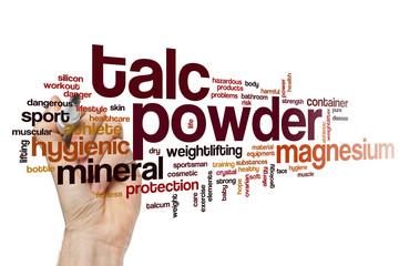 Talc powder word cloud