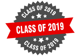 class of 2019 sign. class of 2019 red-black circular band label
